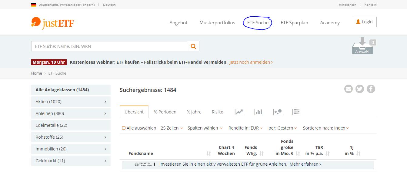 ETF Suche Übersicht